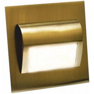 LED nástěnné schodišťové svítidlo BERYL mosaz 1,5W 9xSMD3014 12V DC studená bílá